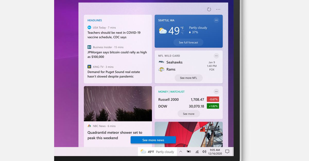 The Windows 10 taskbar gets a big update with a new weather and news widget
